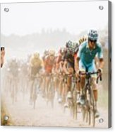 Cycling In The Dust Acrylic Print