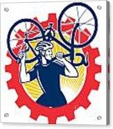 Cyclist Bicycle Mechanic Carrying Bike Sprocket Retro Acrylic Print by Aloysius Patrimonio