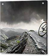 Cyclist Climbs To The Top Acrylic Print