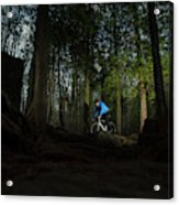 Cyclist In Mountain Forest Acrylic Print