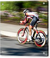 Cyclist Racing The Clock Acrylic Print
