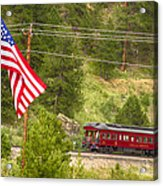 Cyrus K. Holliday Rail Car And Usa Flag Acrylic Print