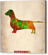 Dachshund Poster 2 Acrylic Print by Naxart Studio