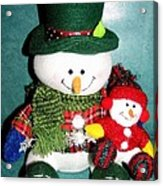 Daddy And Baby Snowmen Decorations Acrylic Print