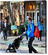 Daddy Pushing Stroller Greenwich Village Acrylic Print