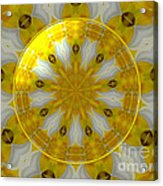 Daffodil And Easter Lily Kaleidoscope Under Glass Acrylic Print