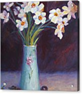 Daffodils And Cherries Acrylic Print