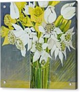 Daffodils And White Tulips In An Octagonal Glass Vase Acrylic Print