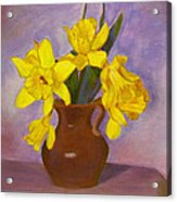 Yellow Daffodils On Purple Acrylic Print