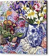 Daffodils Tulips And Iris In A Jacobean Blue And White Jug With Sanderson Fabric And Primroses Acrylic Print