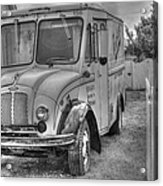 Dairy Truck - Old Rosenbergers Dairies - Black And White Acrylic Print