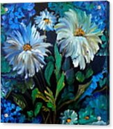 Daisies At Midnight Acrylic Print