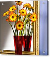 Daisies In Red Vase Acrylic Print