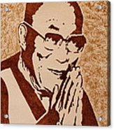 Dalai Lama Original Coffee Painting Acrylic Print