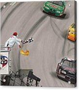 Dale Earnhardt Wins Daytona 500-checkered Flag Acrylic Print