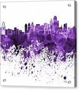 Dallas Skyline In Purple Watercolor On White Background Acrylic Print