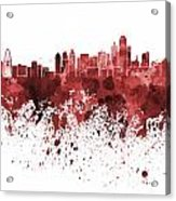 Dallas Skyline In Red Watercolor On White Background Acrylic Print
