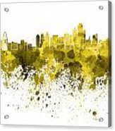 Dallas Skyline In Yellow Watercolor On White Background Acrylic Print