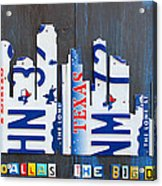 Dallas Texas Skyline License Plate Art By Design Turnpike Acrylic Print by Design Turnpike