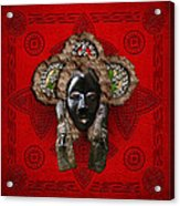 Dan Dean-gle Mask Of The Ivory Coast And Liberia On Red Leather Acrylic Print