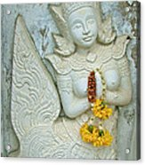 Dancing Aspara At Temple Of The Dawn/wat Arun In Bangkok-thailan Acrylic Print