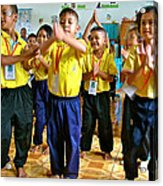 Dancing Kindergarten Students At Baan Konn Soong School In Sukhothai-thailand Acrylic Print