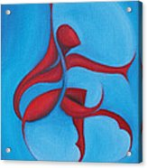 Dancing Sprite In Red And Turquoise Acrylic Print