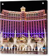 Dancing Waters - Bellagio Hotel And Casino At Night Acrylic Print