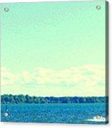 Dangerous Moonlight Red Crescent Kite Boarding Where Canal Meets Ocean Seascape Scene Carole Spandau Acrylic Print