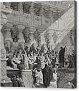 Daniel Interpreting The Writing On The Wall Acrylic Print by Gustave Dore