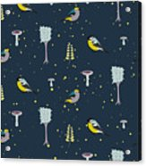 Dark Blue Forest Seamless Pattern With Acrylic Print