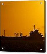 Dark Boat Silhouette At Sunset Acrylic Print