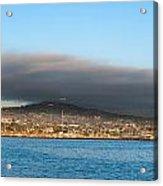 Dark Cloud Over Oceanfront Land Acrylic Print