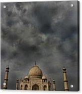 Dark Clouds Over Taj Mahal Acrylic Print