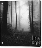 Dark Forest With Man Shadow Trough Trees Acrylic Print