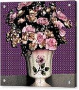 Dark Ink Vase And Flowers Acrylic Print by Good Taste Art