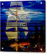 Dark Moonlight With Sails And Seagull Acrylic Print