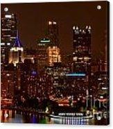 Dark Pittsburgh Skyline Acrylic Print