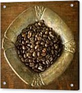 Dark Roast Coffee Beans And Antique Silver Acrylic Print