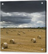 Dark Storm Clouds Over A Field With Hay Acrylic Print