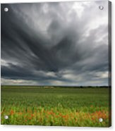 Dark Storm Clouds Over A Field With Red Acrylic Print