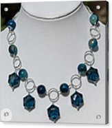 Dark Turquoise Crystal And Faceted Agate Necklace 3676 Acrylic Print