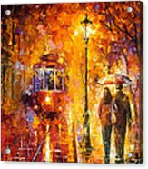 Date By The Trolley - Palette Knife Oil Painting On Canvas By Leonid Afremov Acrylic Print