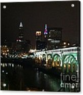 Date Night In Cleveland - From His Window Acrylic Print by LCS Art