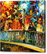 Date On The Bridge - Palette Knife Oil Painting On Canvas By Leonid Afremov Acrylic Print