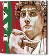 David - Michelangelo - Stylised Modern Drawing Art Sketch  Acrylic Print