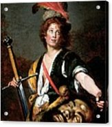 David With The Head Of Goliath, C.1636 Oil On Canvas Acrylic Print