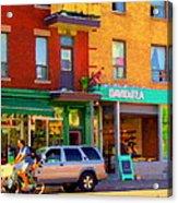 Davids Tea Room Rue St Viateur Next To The Bagel Shop Montreal Street Scene Art Carole Spandau   Acrylic Print