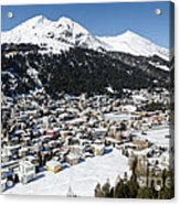 Davos Platz Mountains Parsenn And Town Acrylic Print by Andy Smy