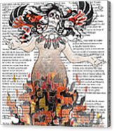 Day Of The Dead Gaia In Flames With Text Illustration Print Acrylic Print